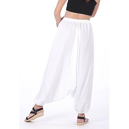 Men Women Rayon Baggy Yoga Harem Pants Plus Size (White)