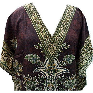 Women's Kaftan, V-Neck Kimono Long Caftan Dress One Size / Free Size Brown