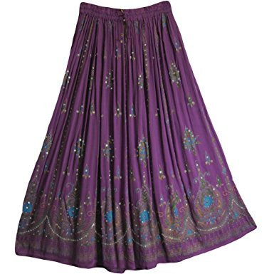 Womens Indian Sequin Crinkle Broomstick Gypsy Long Skirt (Purple)