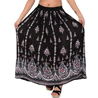 Sequin Long Maxi Elastic Skirt Black One Size
