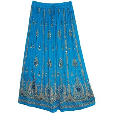 Womens Indian Sequin Crinkle Broomstick Gypsy Long Skirt (Turquoise)