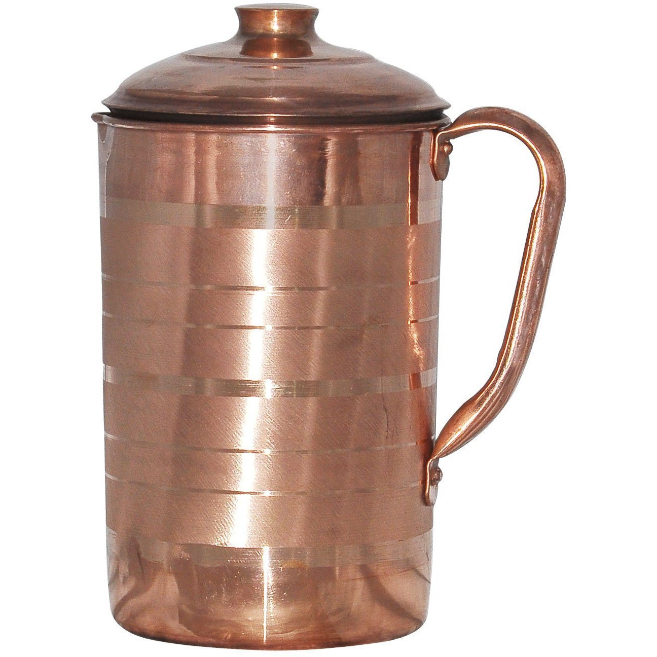 Winmaarc Handmade Pure Copper Jug Water Pitcher Utensils for Ayurveda Healing Capacity 1.8 L