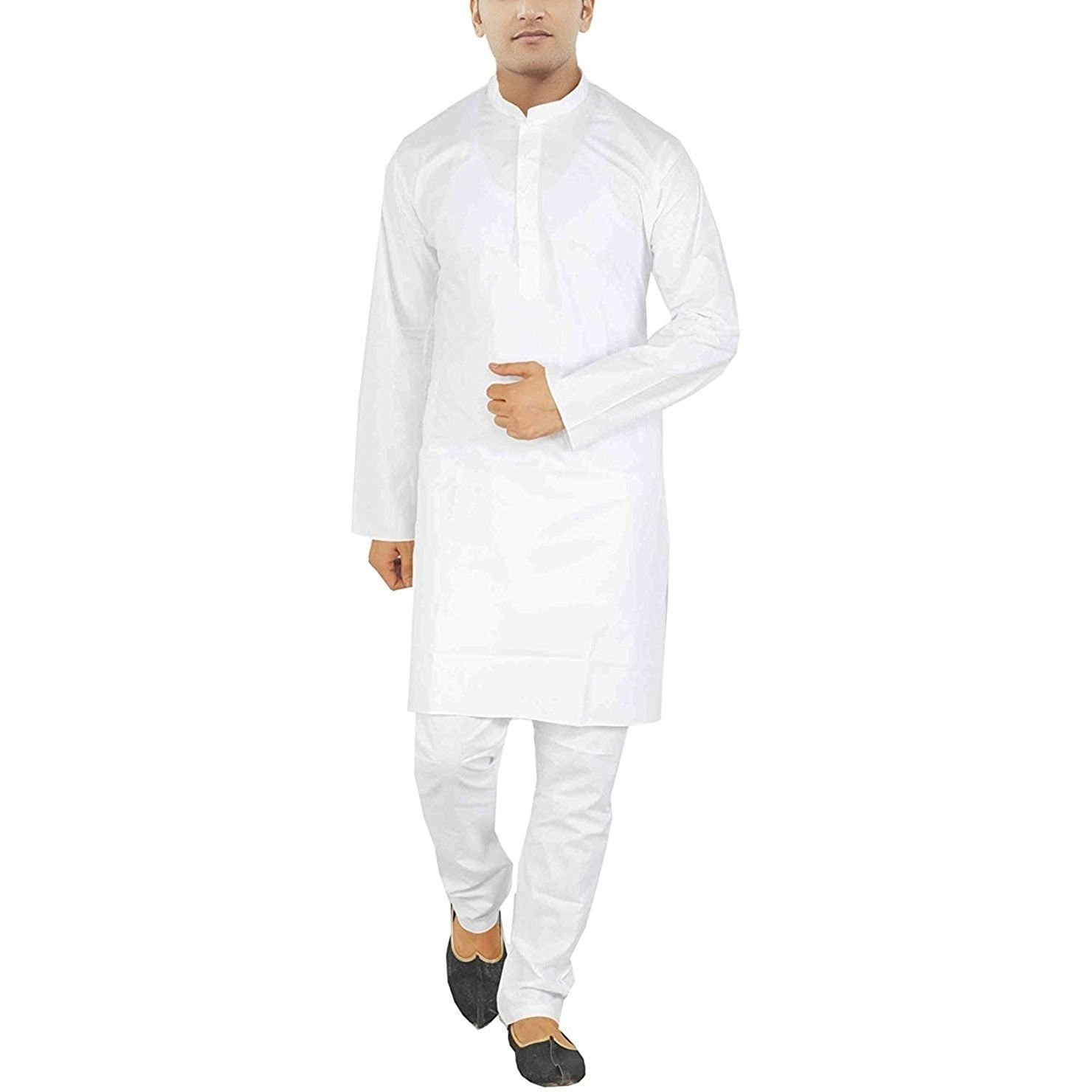 White Cotton Kurta Pajama For Men Yoga Indian Clothing