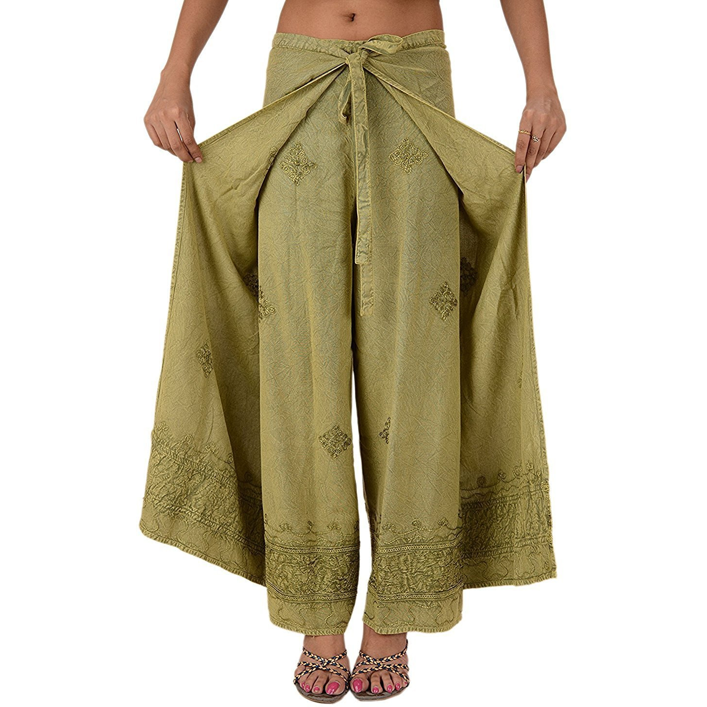 Womens Split Wide Leg Long Embroidered Rayon Wrap Palazzo Pant