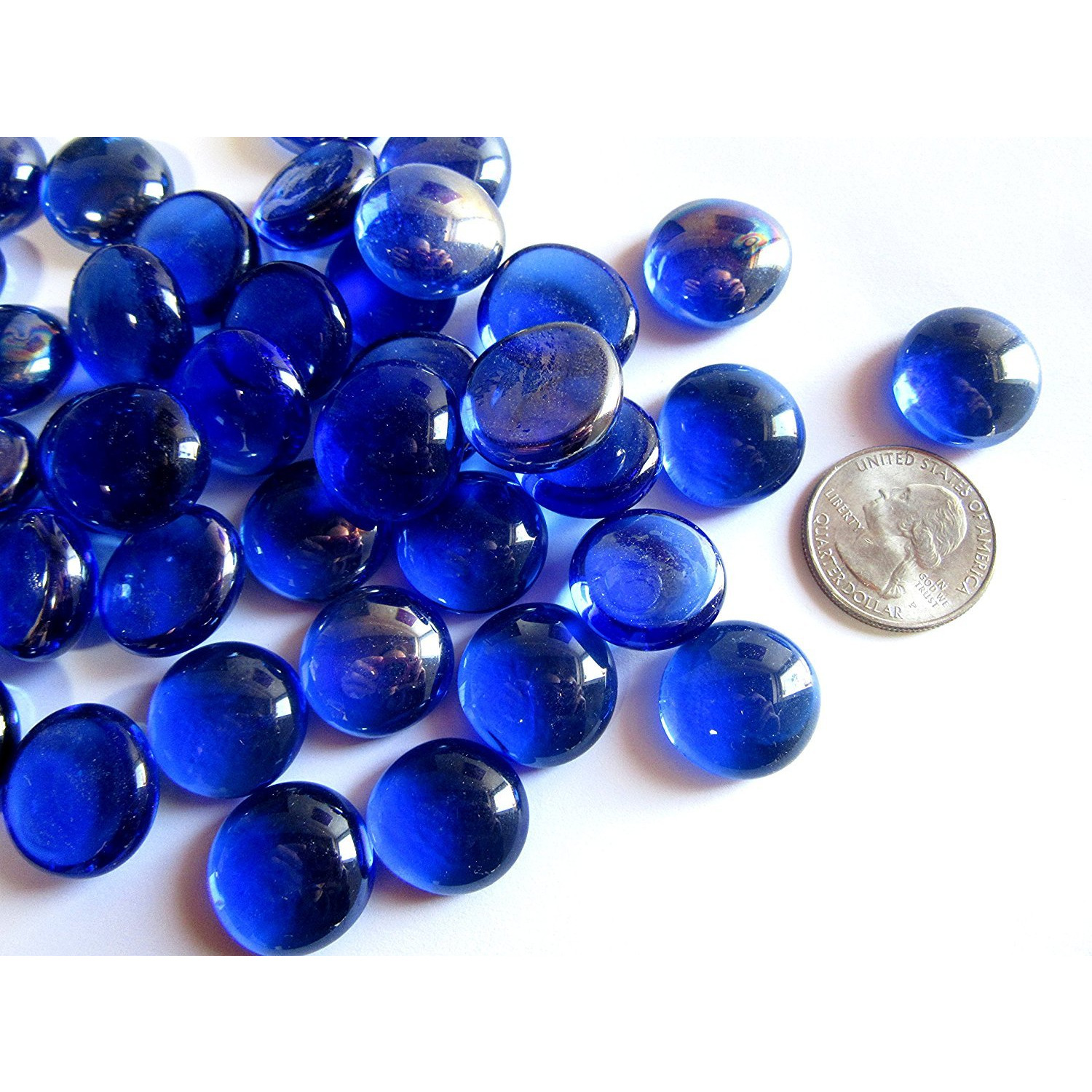 Blue Flat Marbles, Pebbles, Glass Gems for Vase Fillers, Party Table Scatter, Wedding, Decoration, Aquarium Decor, Crystal Rocks, or Crafts 50 PCS