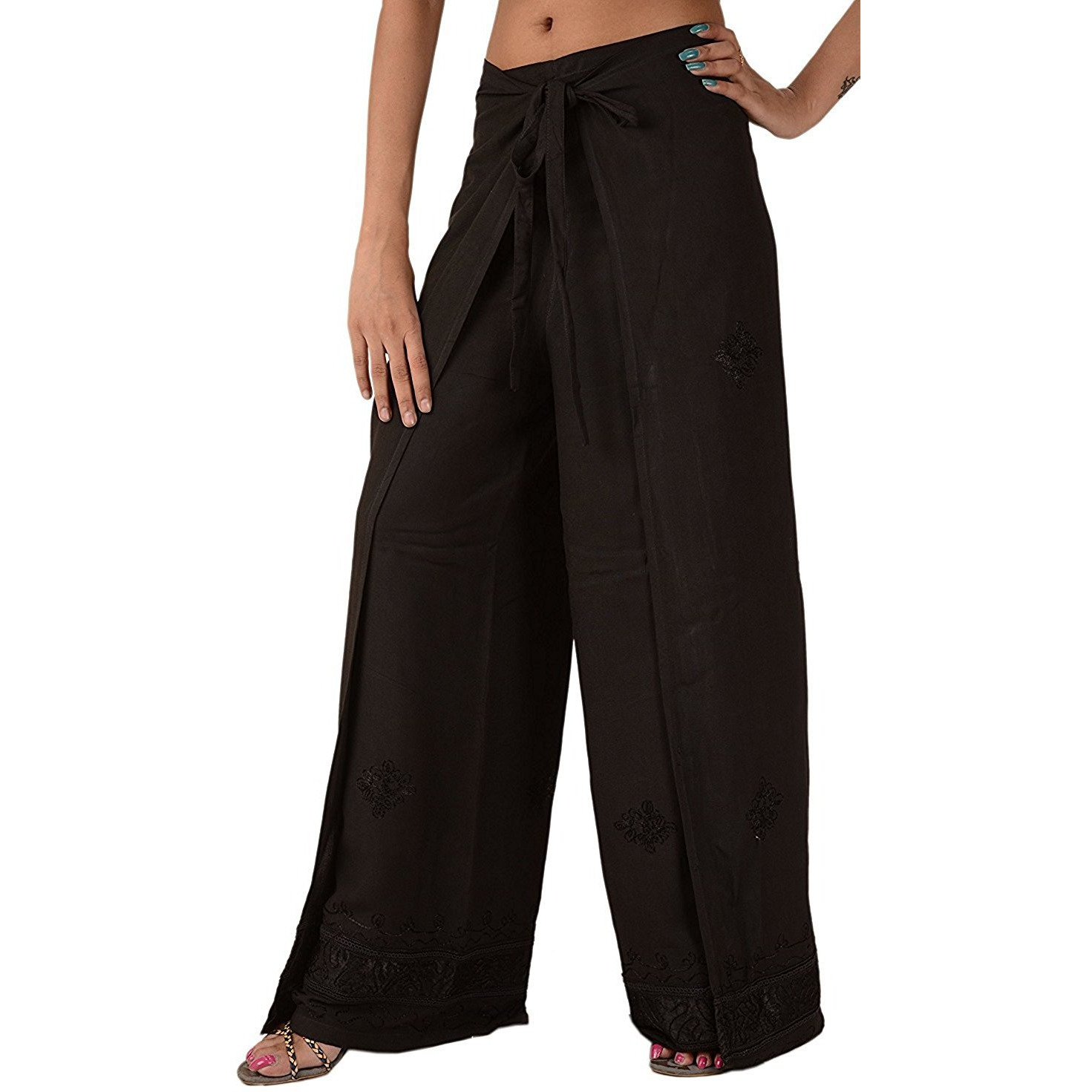 Winmaarc Womens Split Wide Leg Long Embroidered Rayon Wrap Palazzo Pant