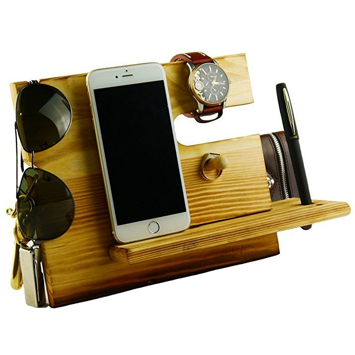 Winmaarc Wooden Phone Docking Station Key Holder, Pen Holder, Wallet and Watch Organizer Mens Gift
