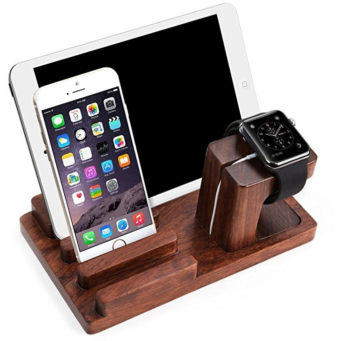Winmaarc Wooden Phone Charging Station Dock, 3 in 1 Desktop Organizer Charging Stand Mount Cradle Holder, Pen Holder, Apple Watch & Iphone & Tablet & Ipad Holder