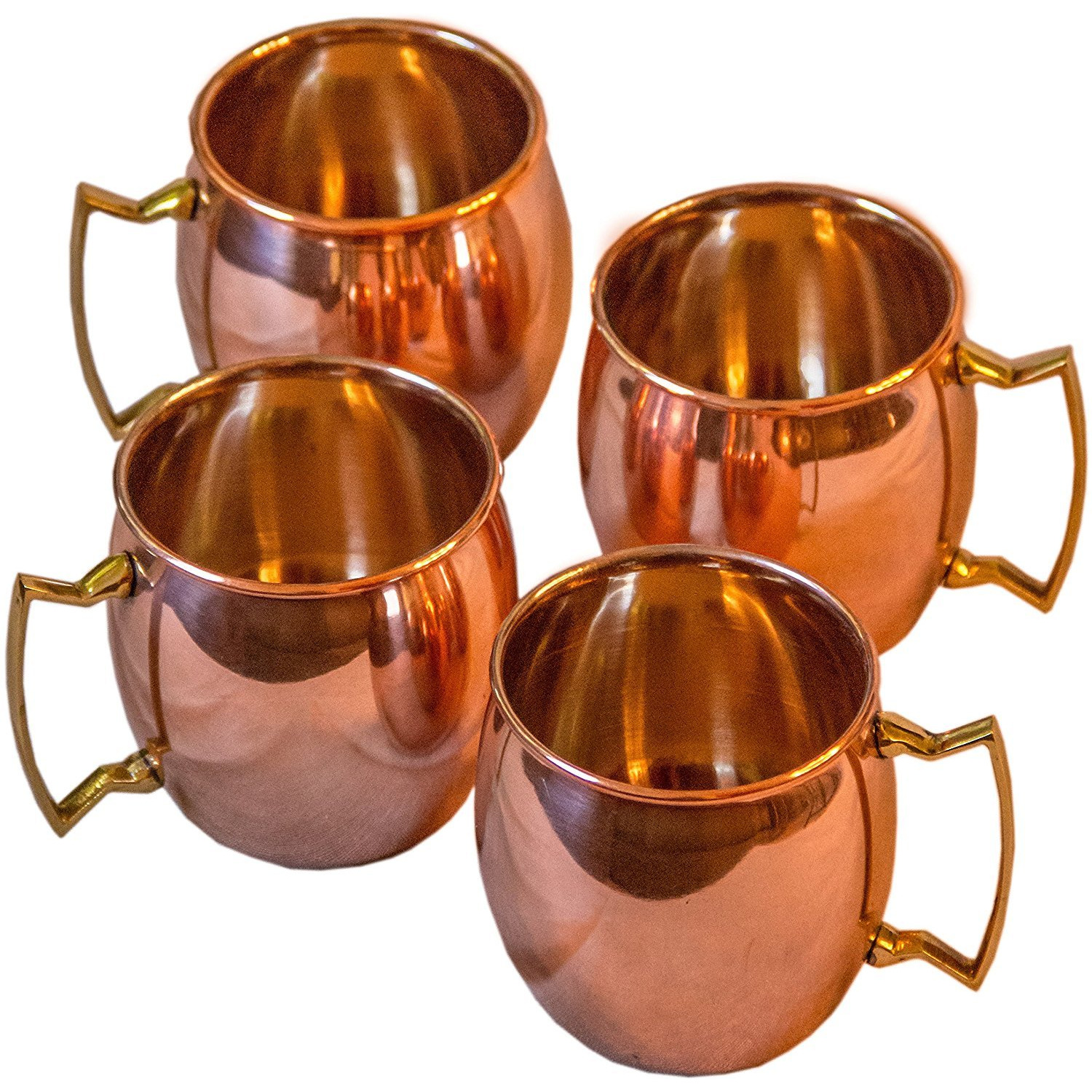 Winmaarc 100 % Solid Pure Copper Mugs Smooth 16 oz Set of 4 Cups