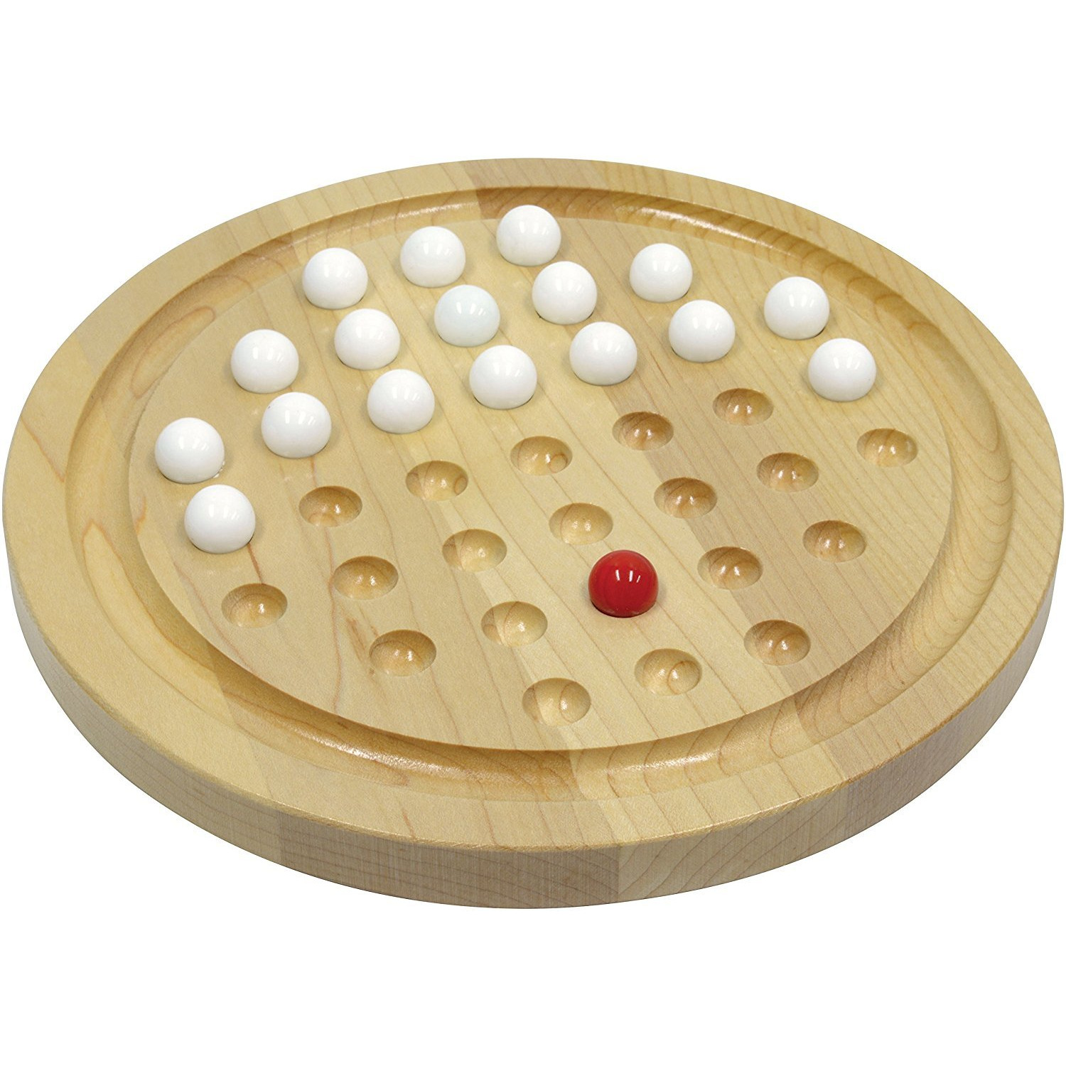 Winmaarc Handmade Games Solitaire Board In Wood With Glass Marbles