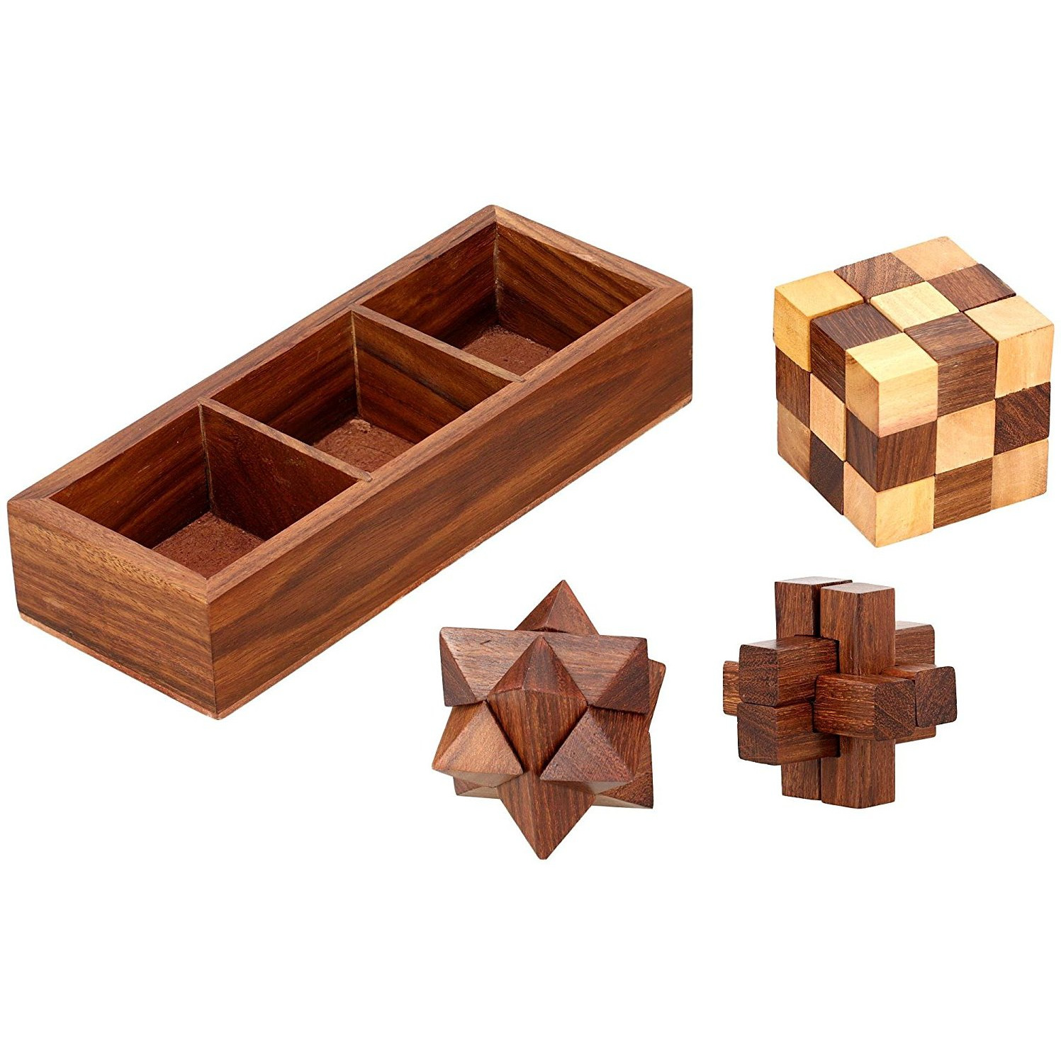 Winmaarc 3 In One Wooden Puzzle Games Set   3D Puzzles For Teens And