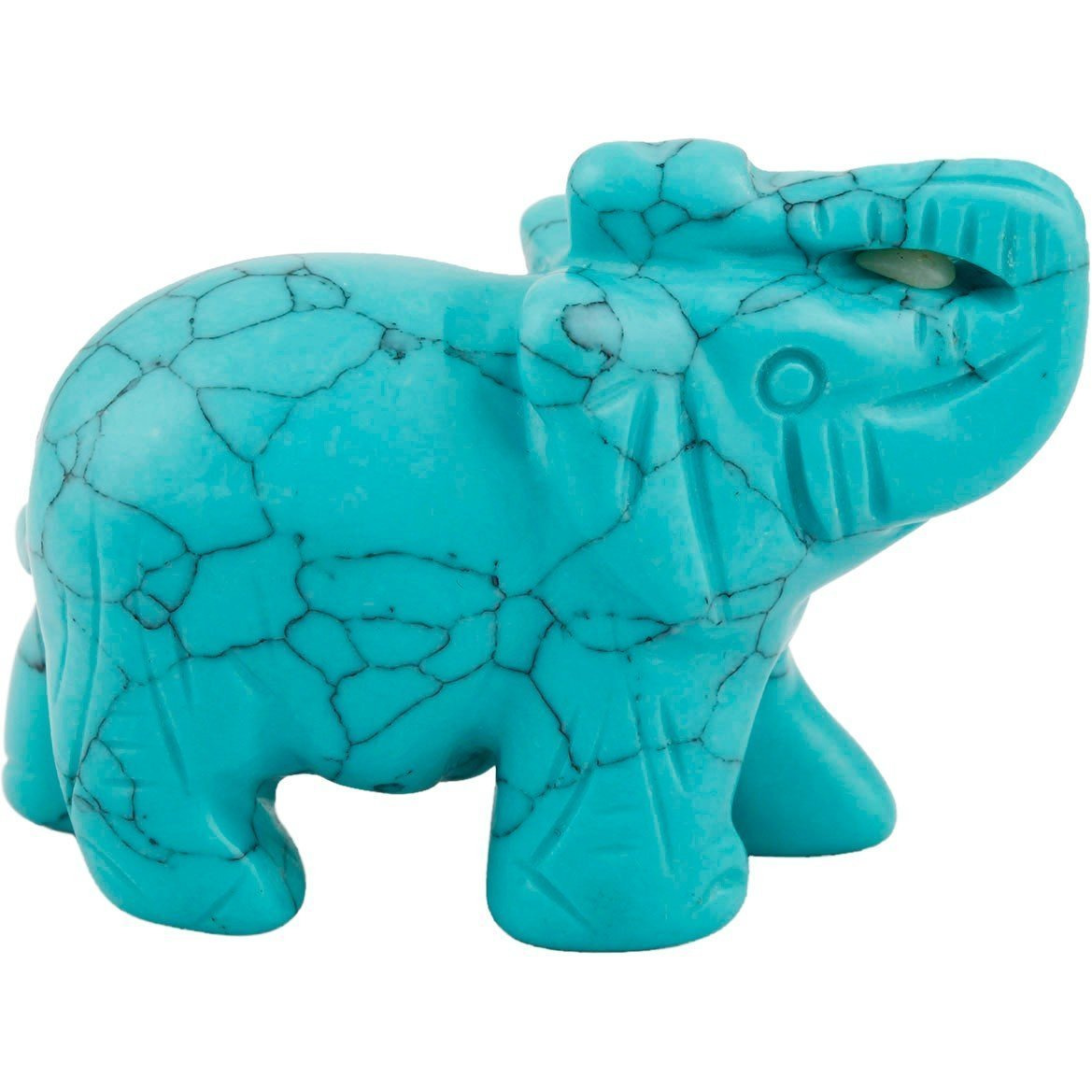 Winmaarc Healing Crystal Guardian Green Howlite Turquoise Elephant Pocket Stone Figurines Carved Gemstone 2