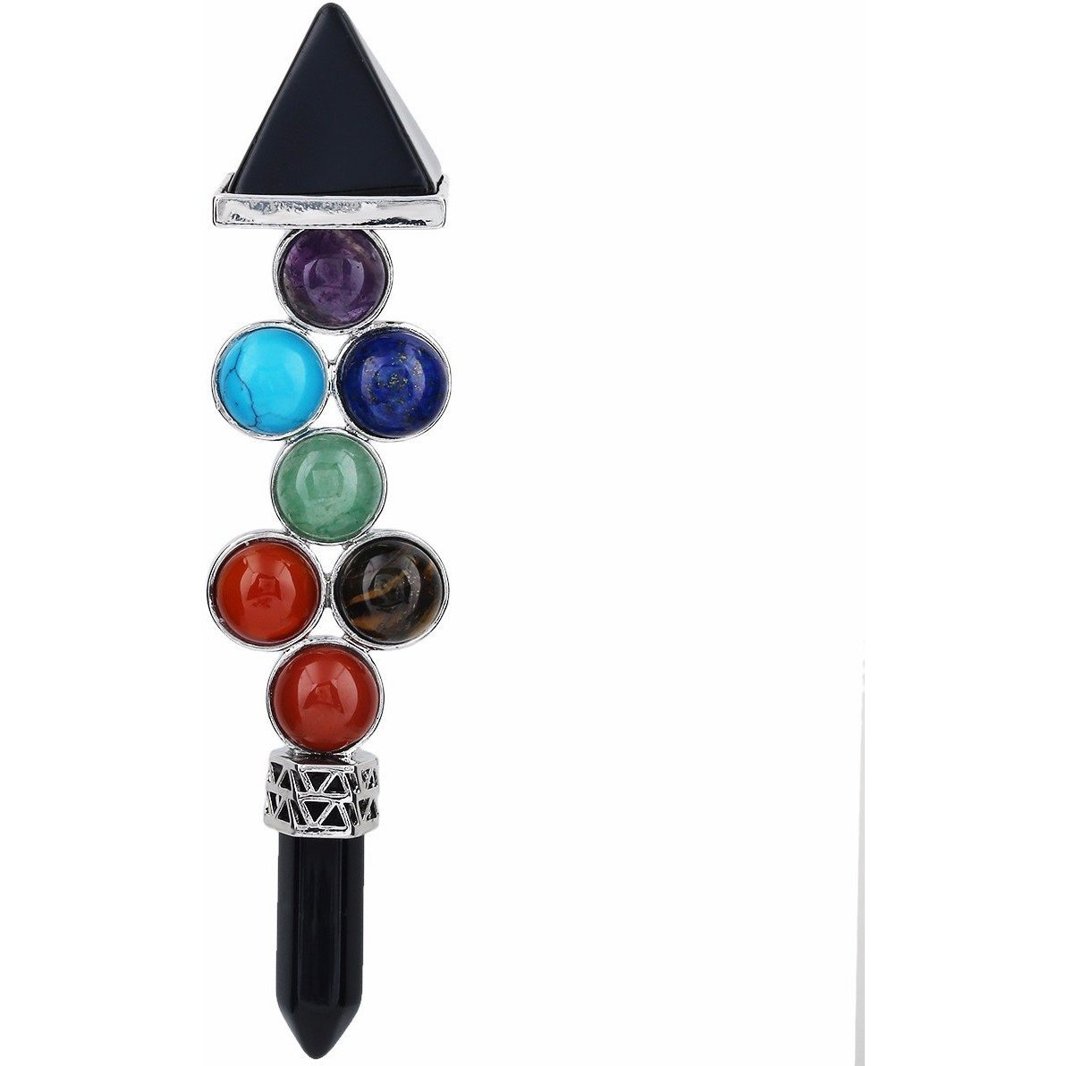 Winmaarc 7 Chakra Beads Reiki Pyramid Wand Stick Point for Balancing Energy,Meditation,Crystal Healing