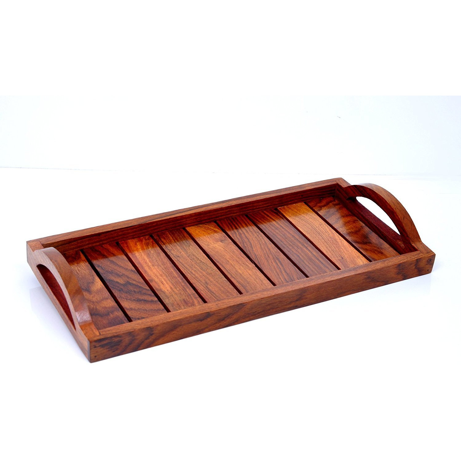 Winmaarc Handmade Wooden Serving Tray for Dining Tableware, Table D??cor, Kitchen Serveware Accessory, Breakfast Coffee Tray, Butler Serving Trays 13x6 inch
