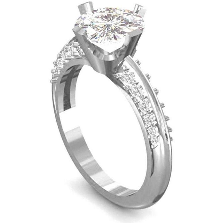 1.55 Ct Off White Moissanite Double Row Pave Wedding Ring 925 Sterling Silver
