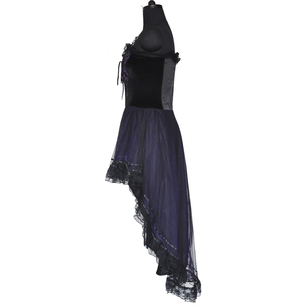 Gothic Prom Long Dress Black / Purple Victorian Halloween Wedding Dress Small Size