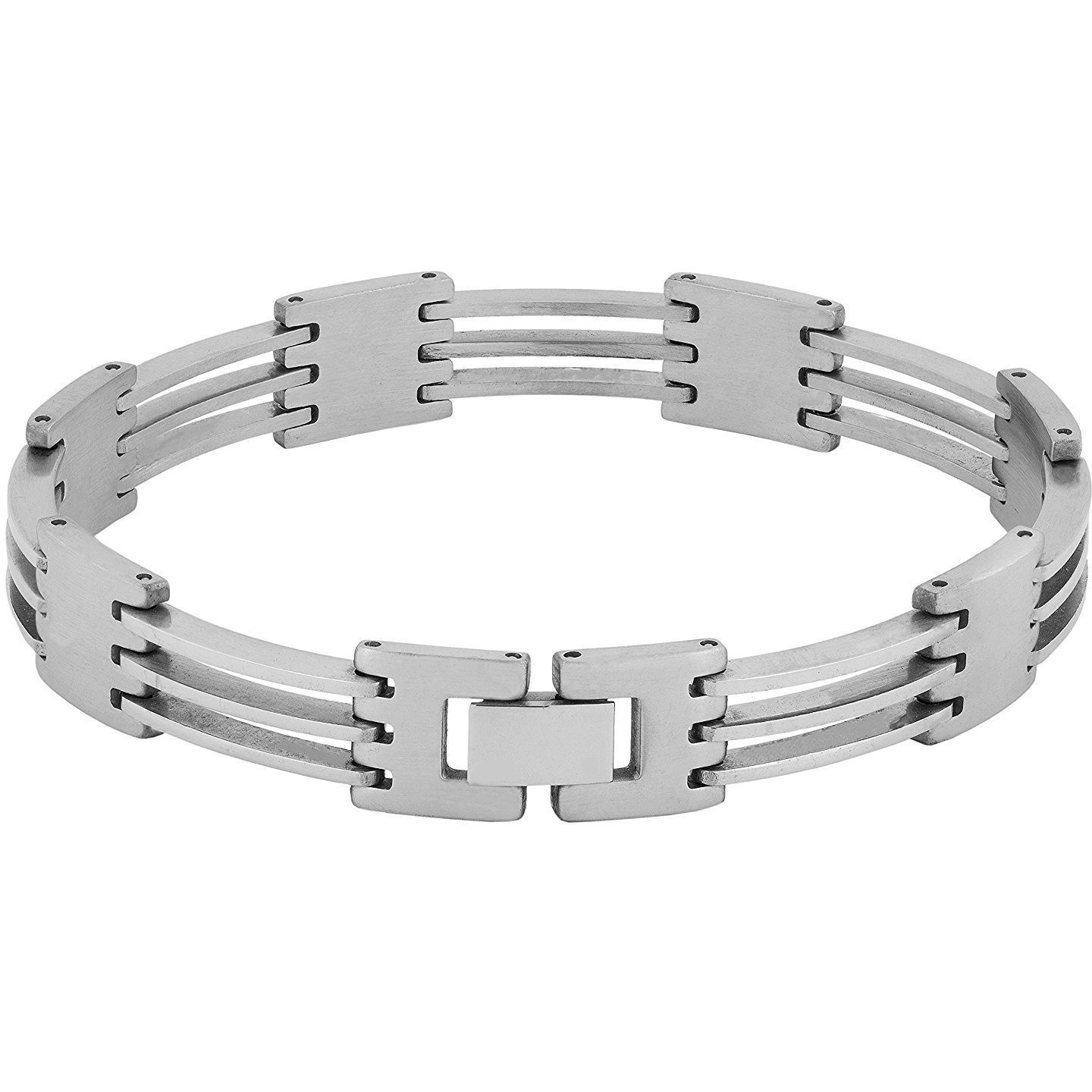 Zivom Geometric Glossy Matte Links Daily 316L Surgical Stainless Steel Bracelet For Boys Men