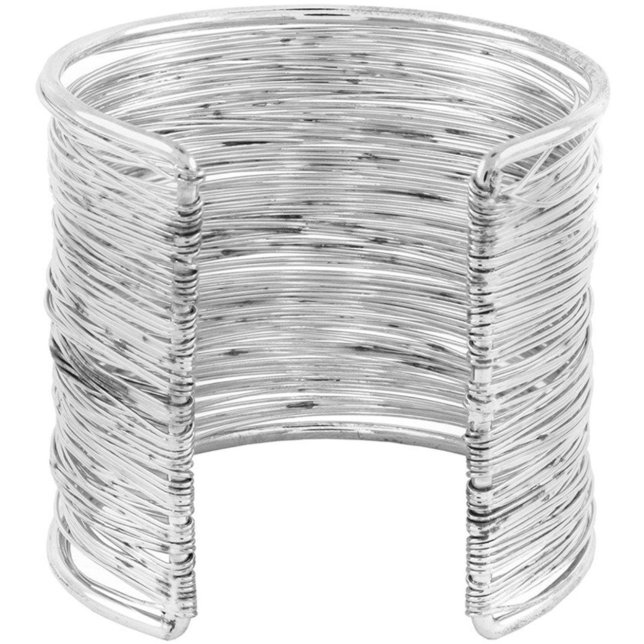 Zivom Party Statement Mesh Imported Rhodium Silver Free Size Cuff Kada Bangle Bracelet For Girls Women