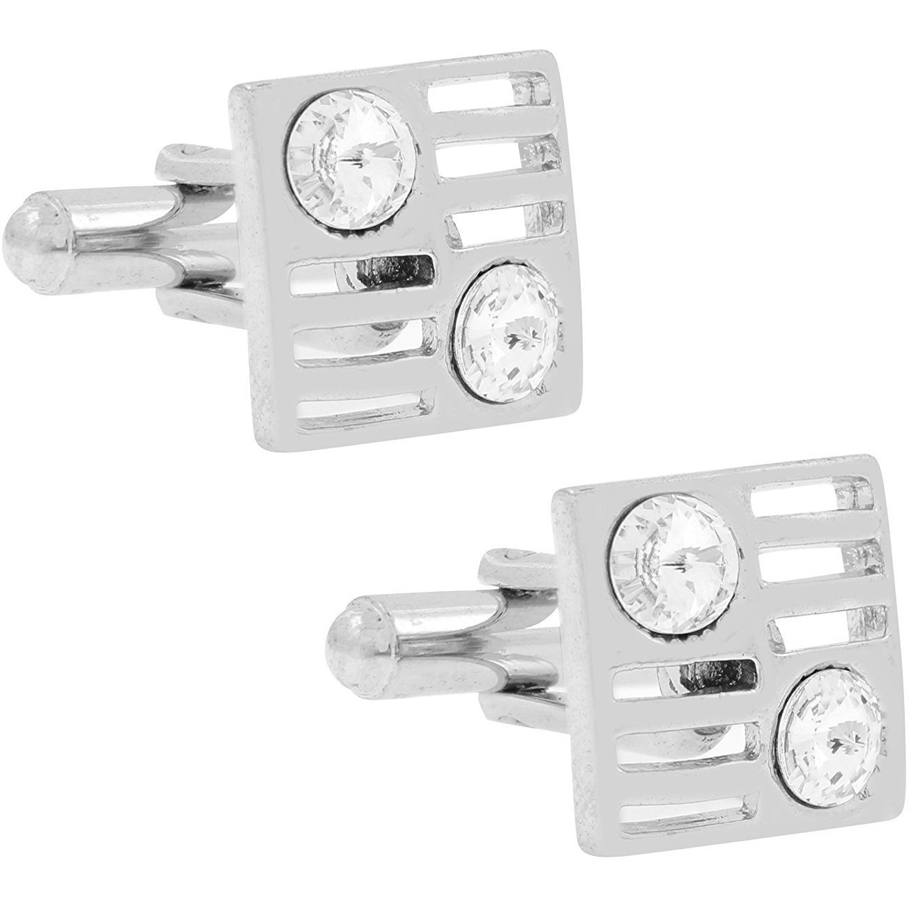 Zivom Square American Diamond CZ Rhodium Plated Brass Cufflink Pair for Men