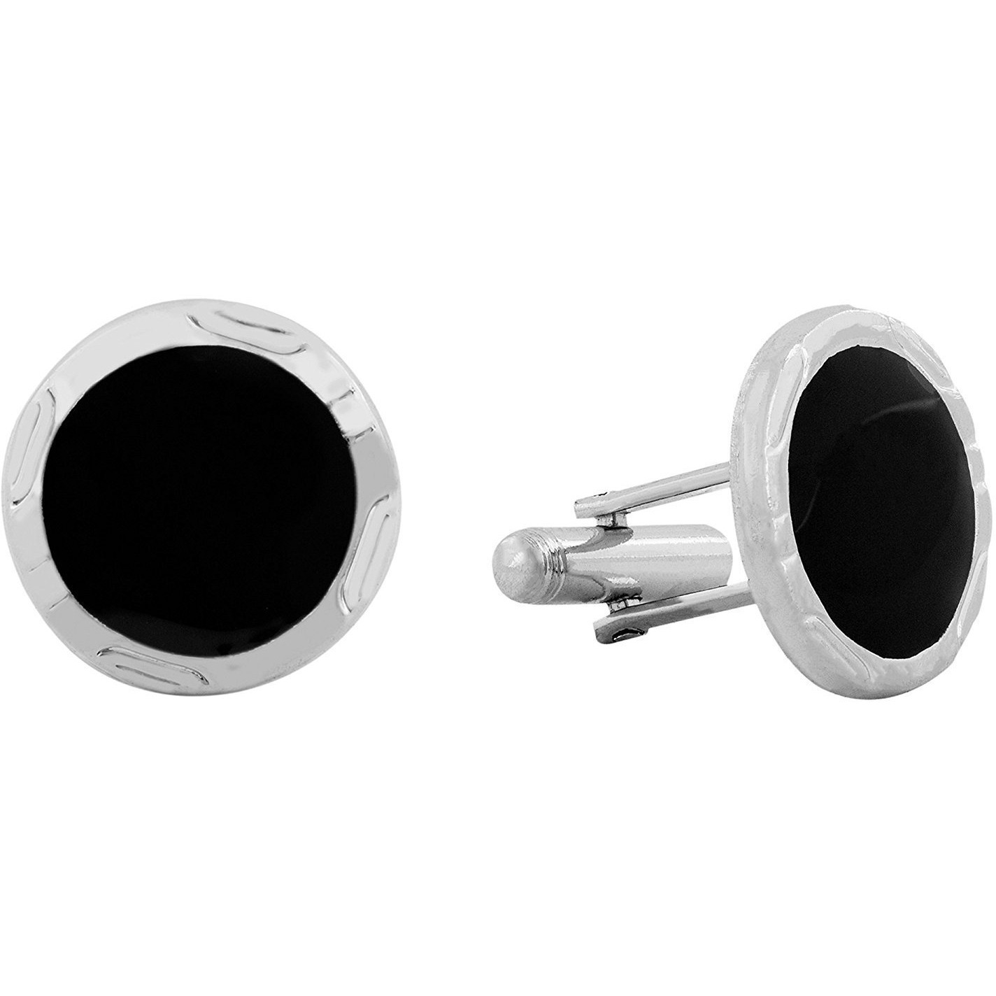 Zivom Glossy Round Gemstones Black Silver Rhodium Plated Brass Cufflink Pair For Men