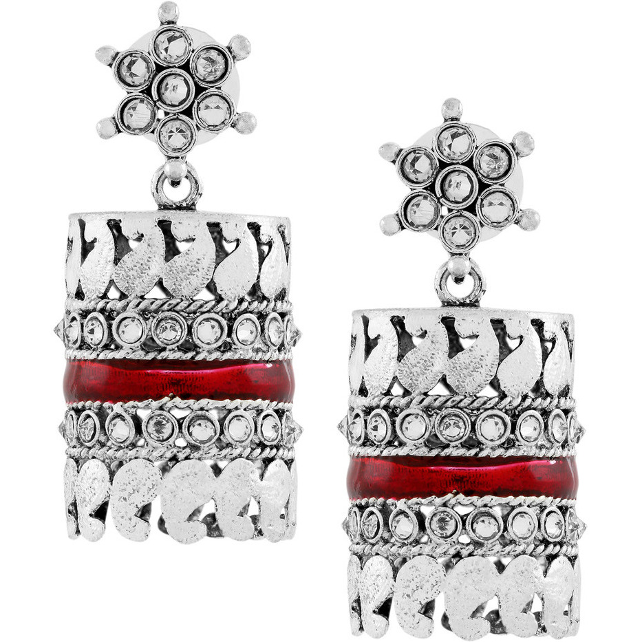 Zivom Traditional CZ Enamel Multicolor Silver Rhodium Plated Dangle Earring Combo For Girls Women