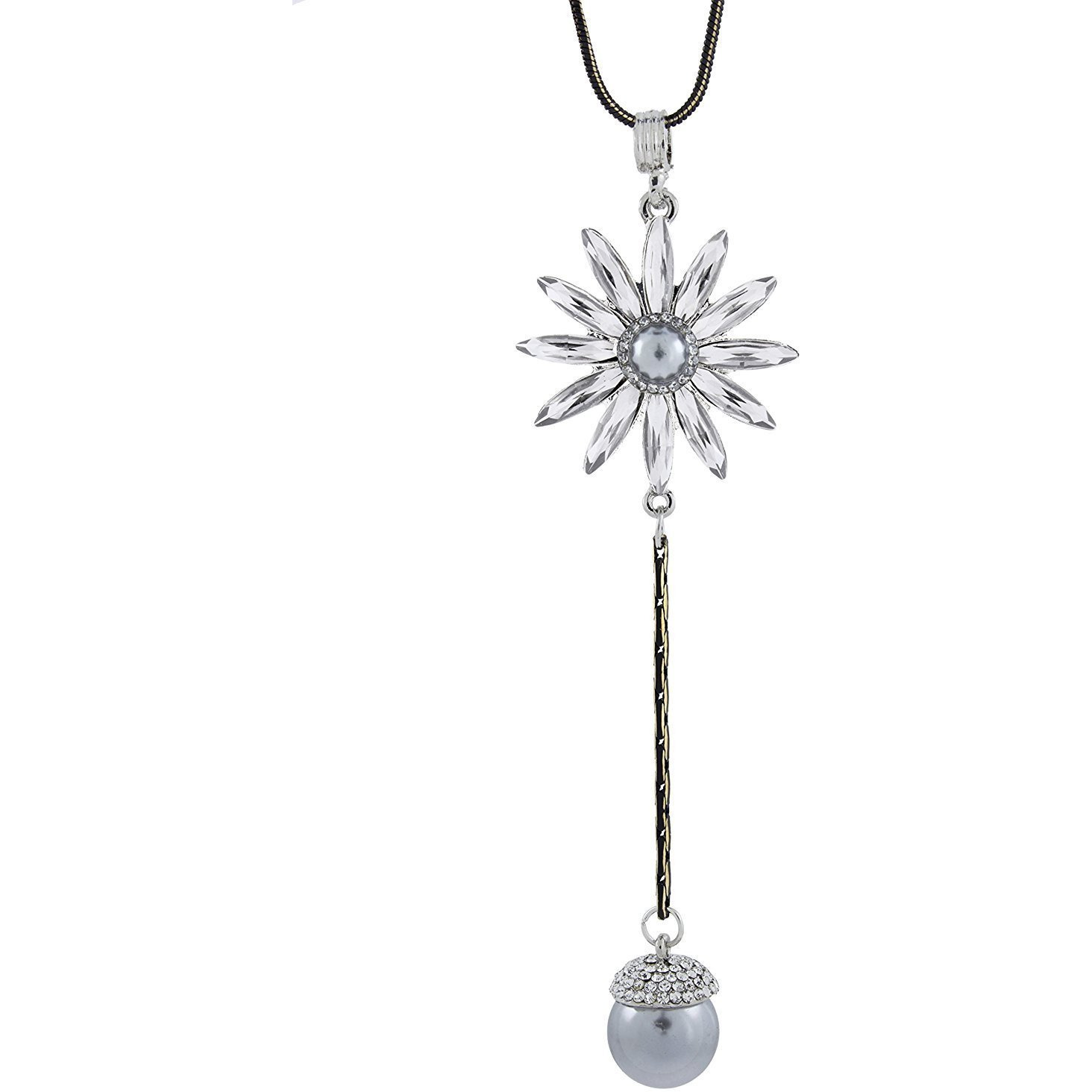 Zivom Flower Crystal Pearl CZ American Diamond Long Chain Necklace for Girls Women