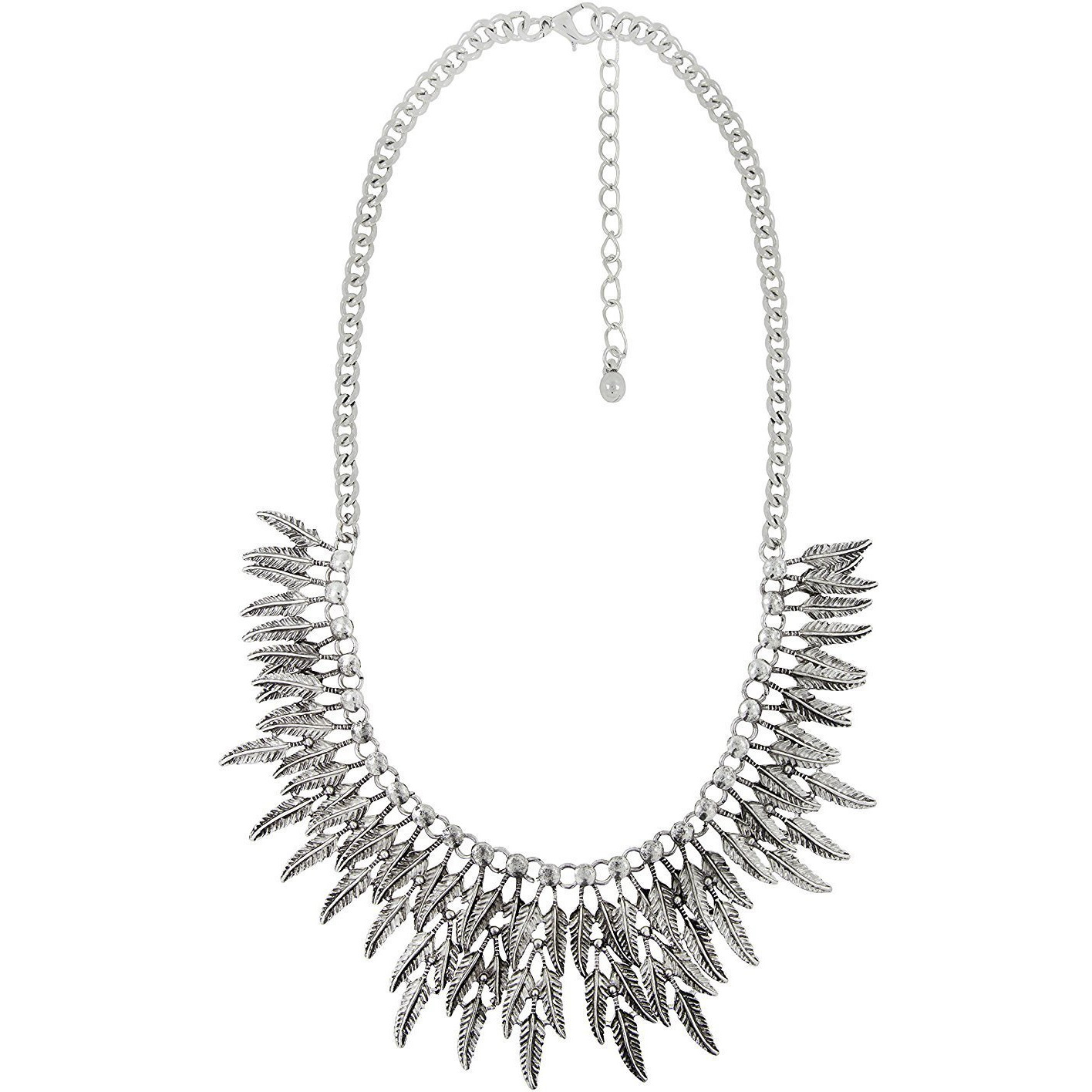 Zivom Tribal Bohemian Afghan Leaf Statement Grey Crystal Antique Oxidized Silver Necklace Chain Girls Women