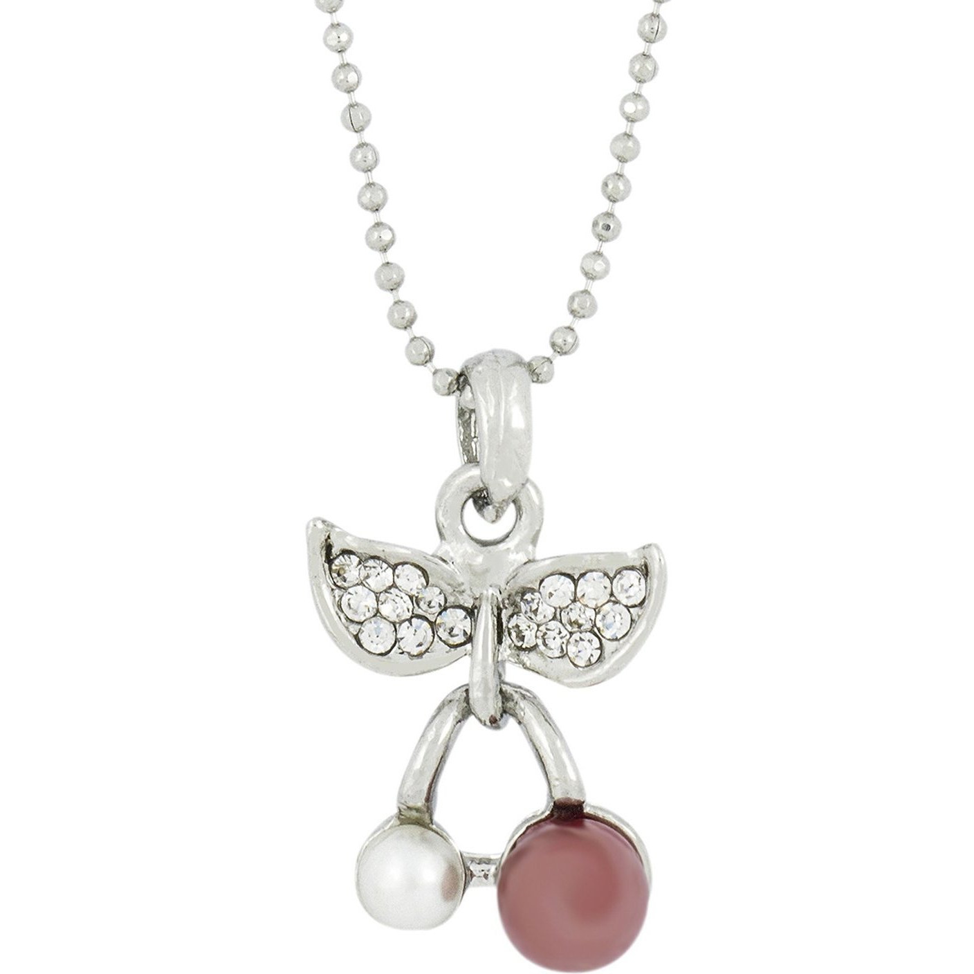 Zivom Enamel Flower 18k Gold & Rhodium Plated Brass CZ Pearl Combo Pendant Chain Set For Girl
