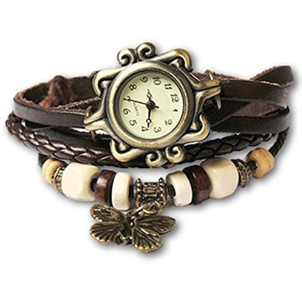 Zivom Vintage Charm Watch Bracelet Brown Leather Strand Free Size