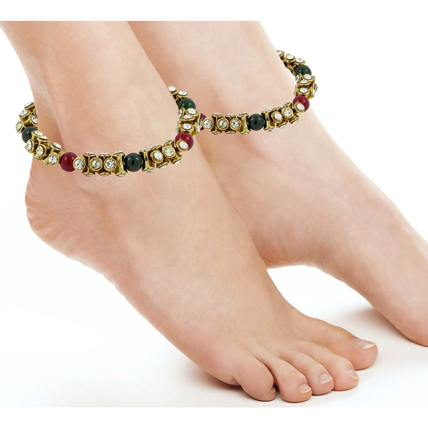 Zivom Antique CZ Red Green Gold Plated Stretchable Pair Of Anklet