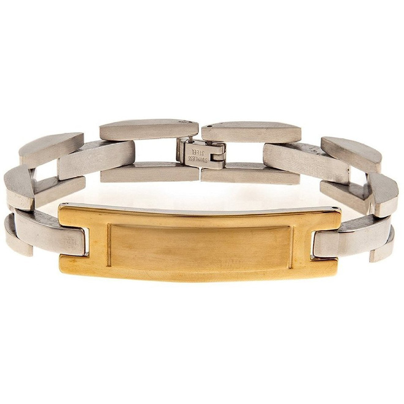 Zivom 316L Surgical Stainless Steel Solid Two Tone Plate Bracelet Mens 8