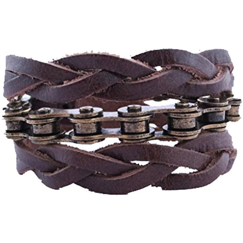 Zivom Biker Chain With Dual Leather Pleat Mens Boys Wrist Band Bracelet.