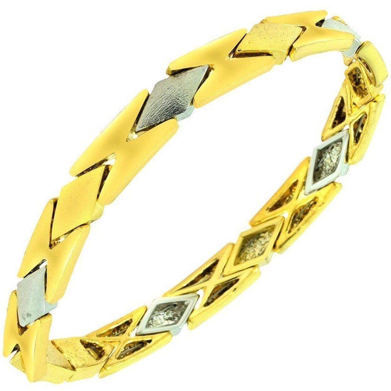 Zivom 3D Geometric 22K Brush Gold Plated Bracelet For Women