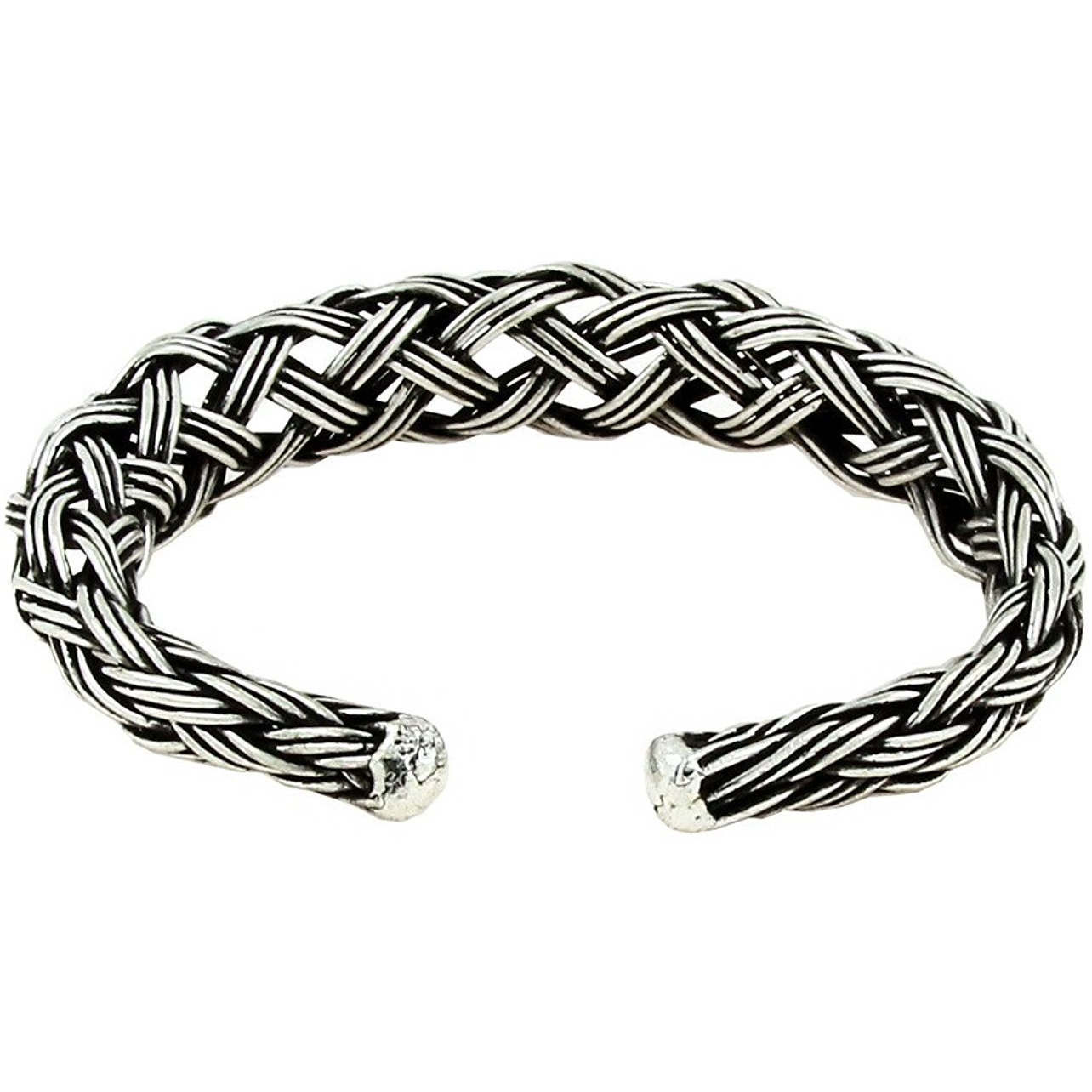 Zivom Antique Vintage Oxidized Cuff Bracelet + Tribal Bohemian Hasli Choker Necklace Combo For Womens