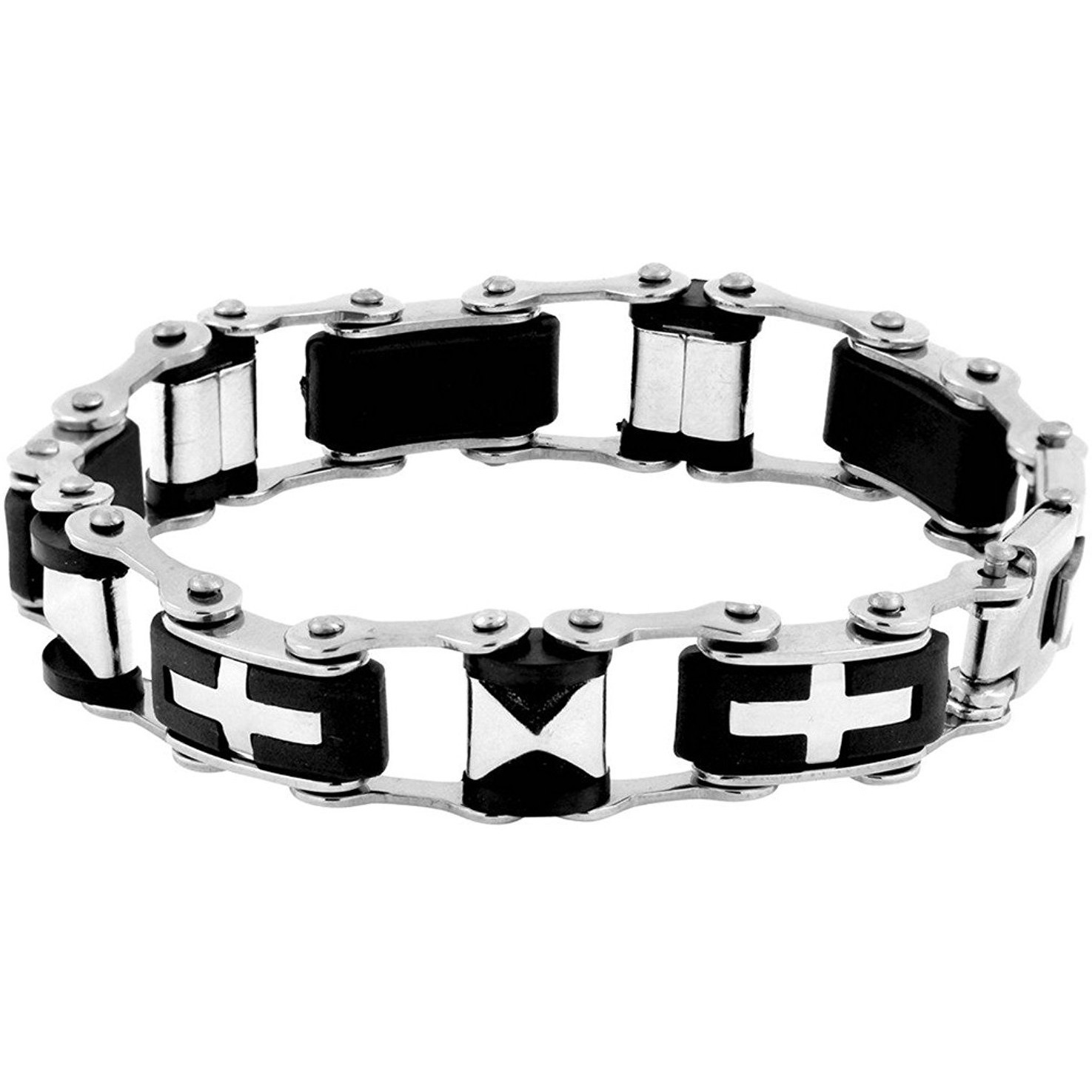 Zivom 3D Cross Biker Black Silver Surgical Stainless Steel Bracelet For Men