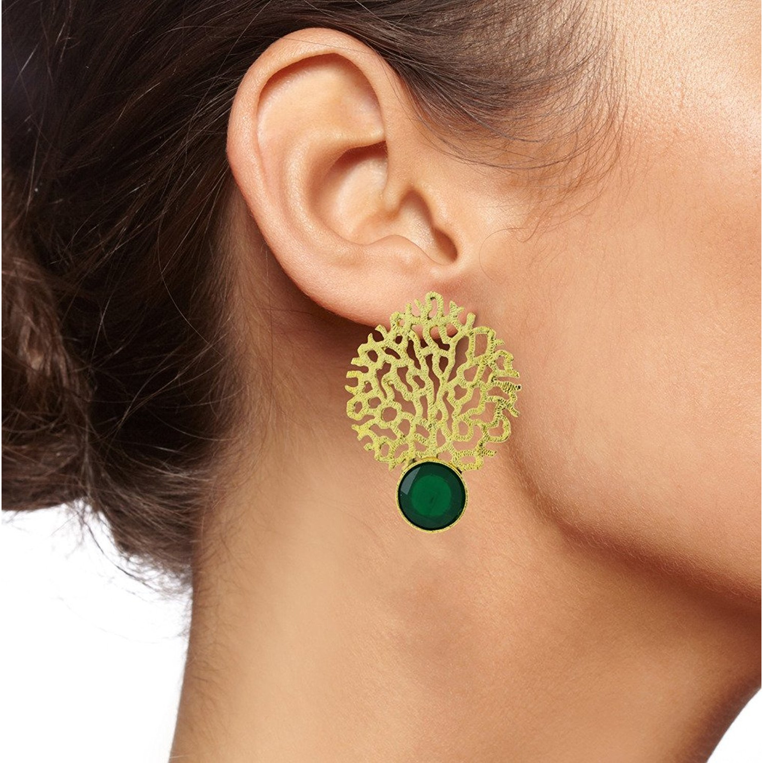 Zivom Gold Jaali Emerald Green Earring For Women