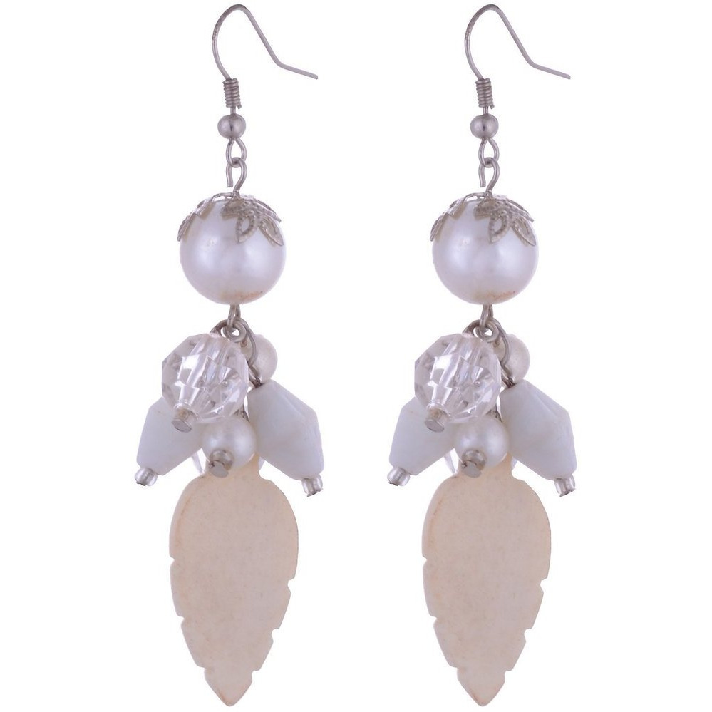 Zivom Crystals And White Ceramic Leaf Hanging Earring For Women