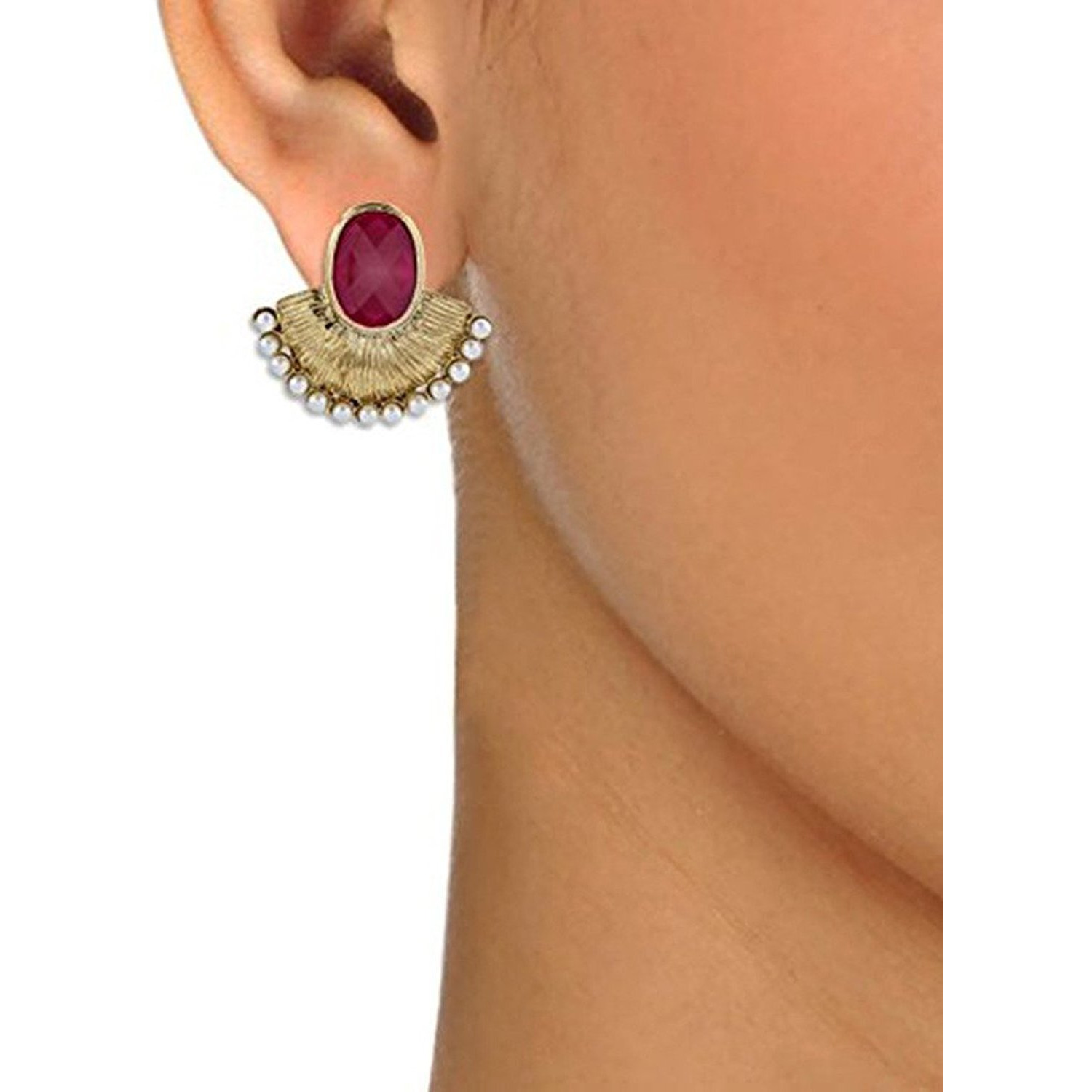Zivom Faceted Maroon Stone Pearl Gold Plated Designer Earring For Women
