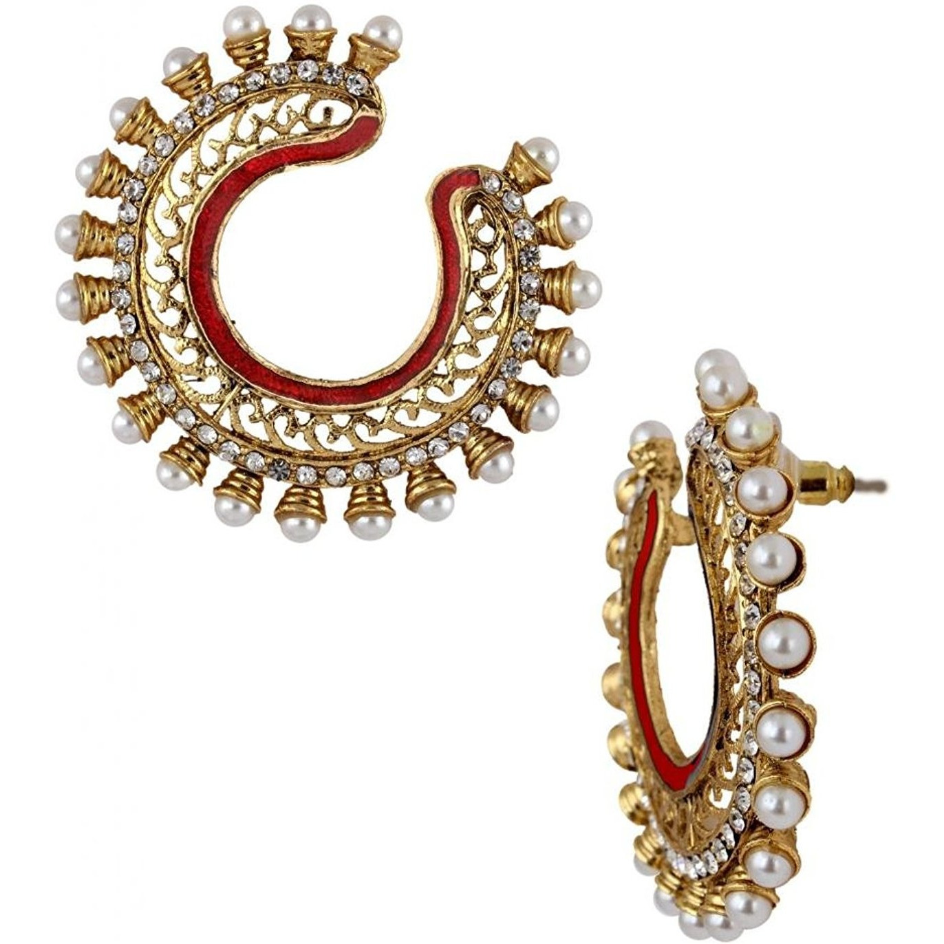 Zivom Gold Plated Maroon Meenakari Pearl Filigree Chaand Bali Earring For Women