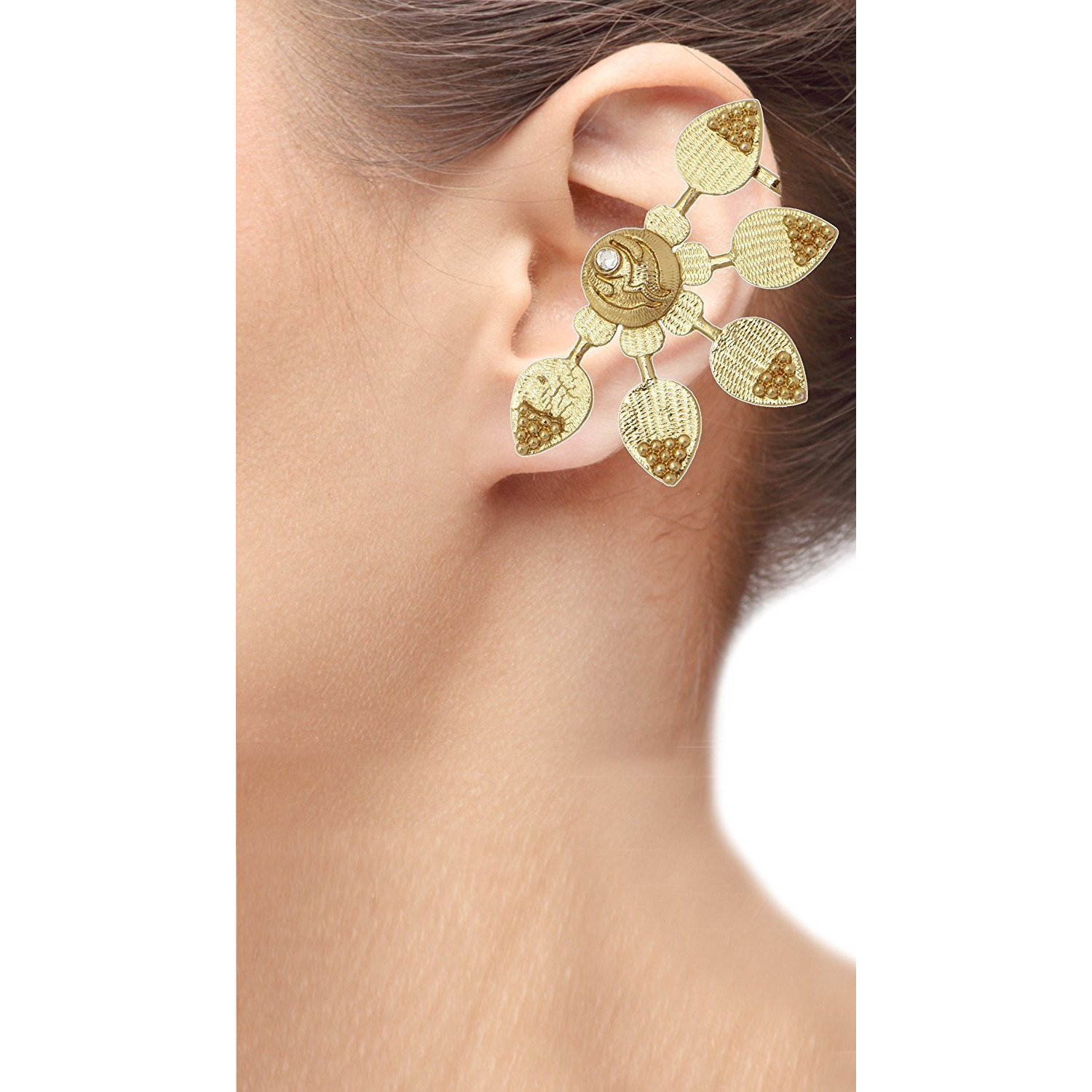 Zivom Antique 18K Gold Plated Large Sun Flower Ear Cuff Pair Earring For Women