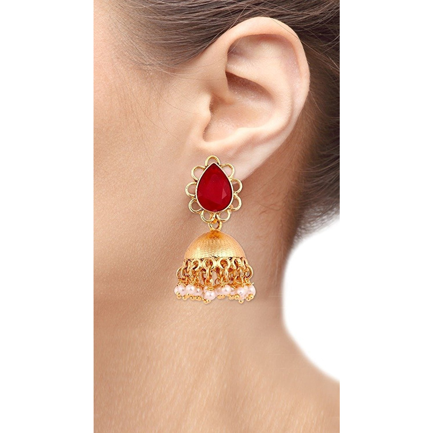 Zivom 22K Gold Plated Ruby Red Stone Jhumki Earring For Women