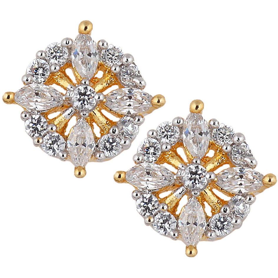 Zivom Marquise Flower 18K Gold Plated American Diamond Stud Earring For Women