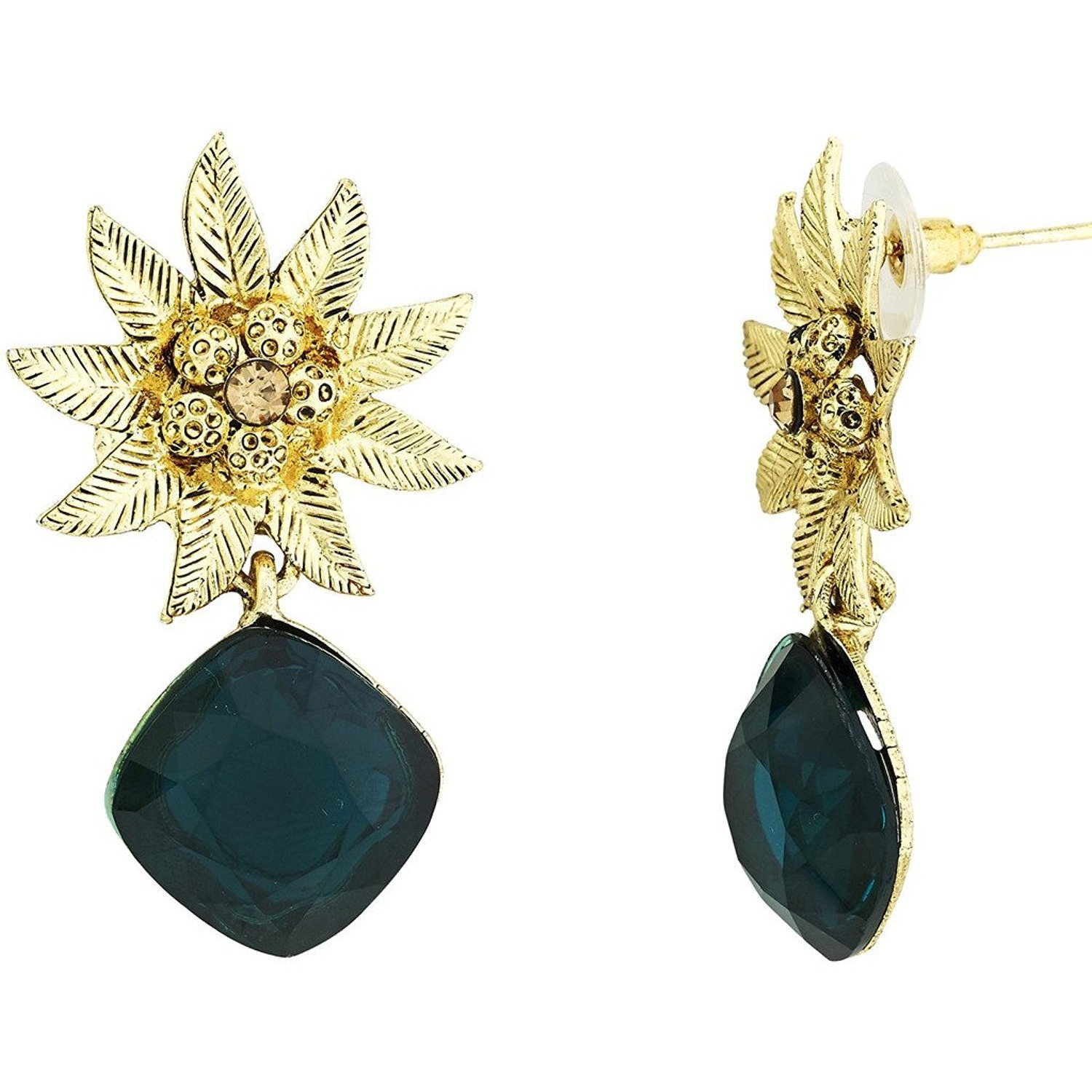 Zivom Designer Star Flower Dangling Green Earring For Women