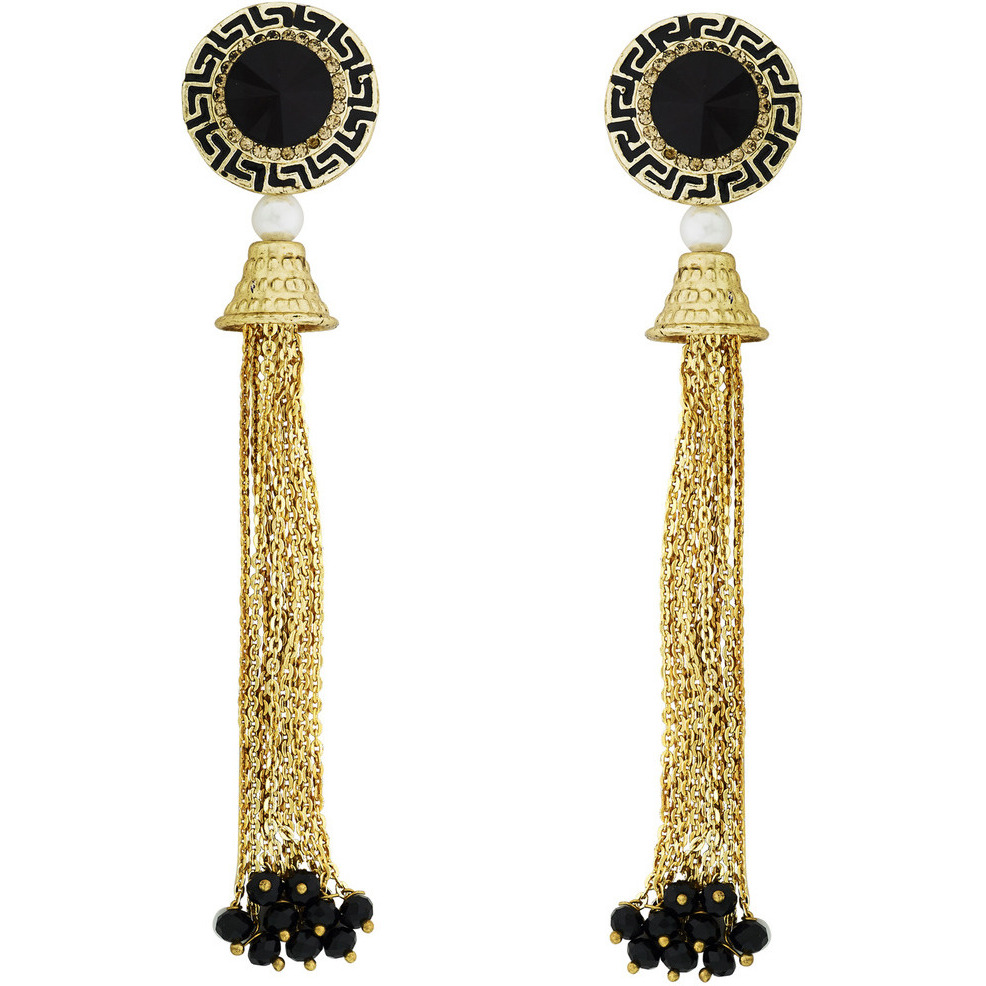 Zivom Italian Black Gold Plated Hanging Long Earring For Women