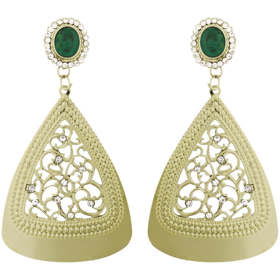 Zivom Filigree Cocktail Green American Diamond 14K Gold Plated Dangling Earring For Women