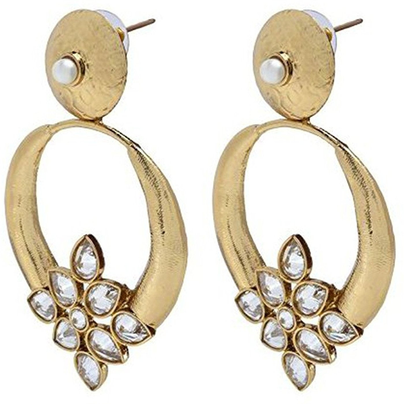Zivom Turkish Kundan Polki Chaand Bali Gold Plated Long Earring For Women