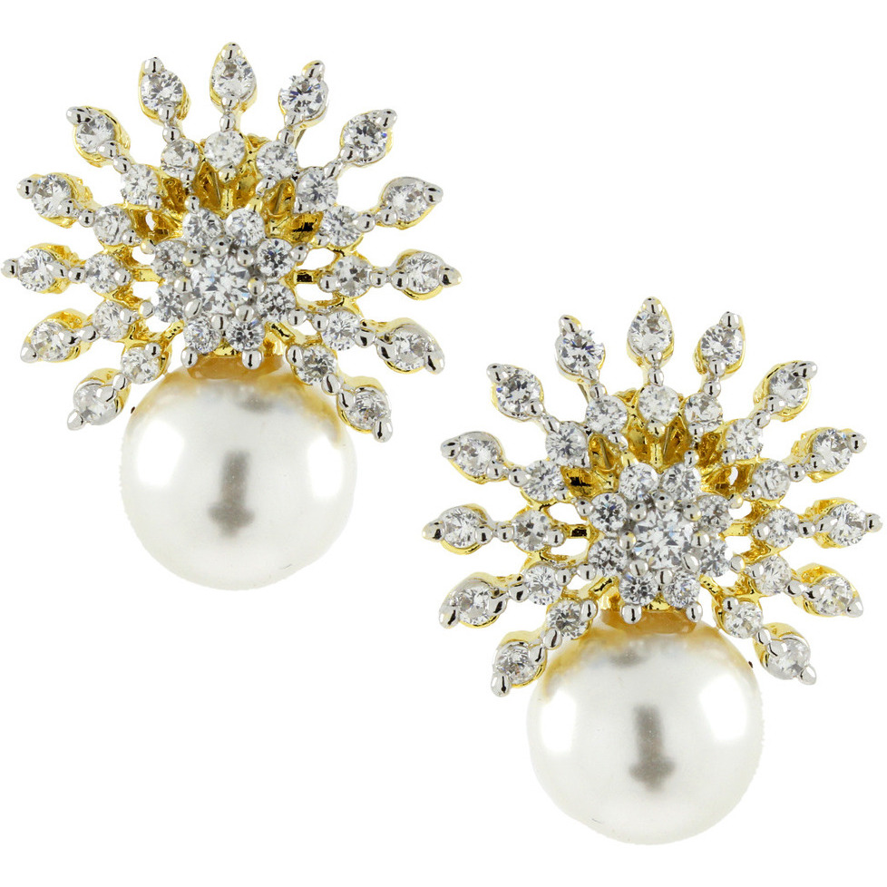 Zivom Star Burst American Diamond CZ Pearl Gold Rhodium Plated Stud Earring For Women