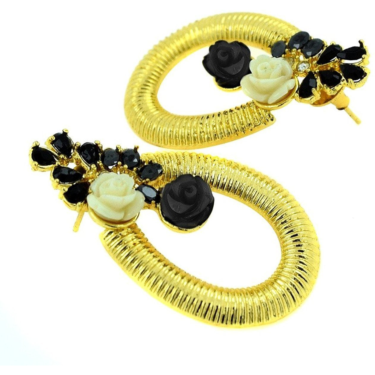 Zivom Designer Flower Gold Plated American Diamond Black Off White Earring For Women