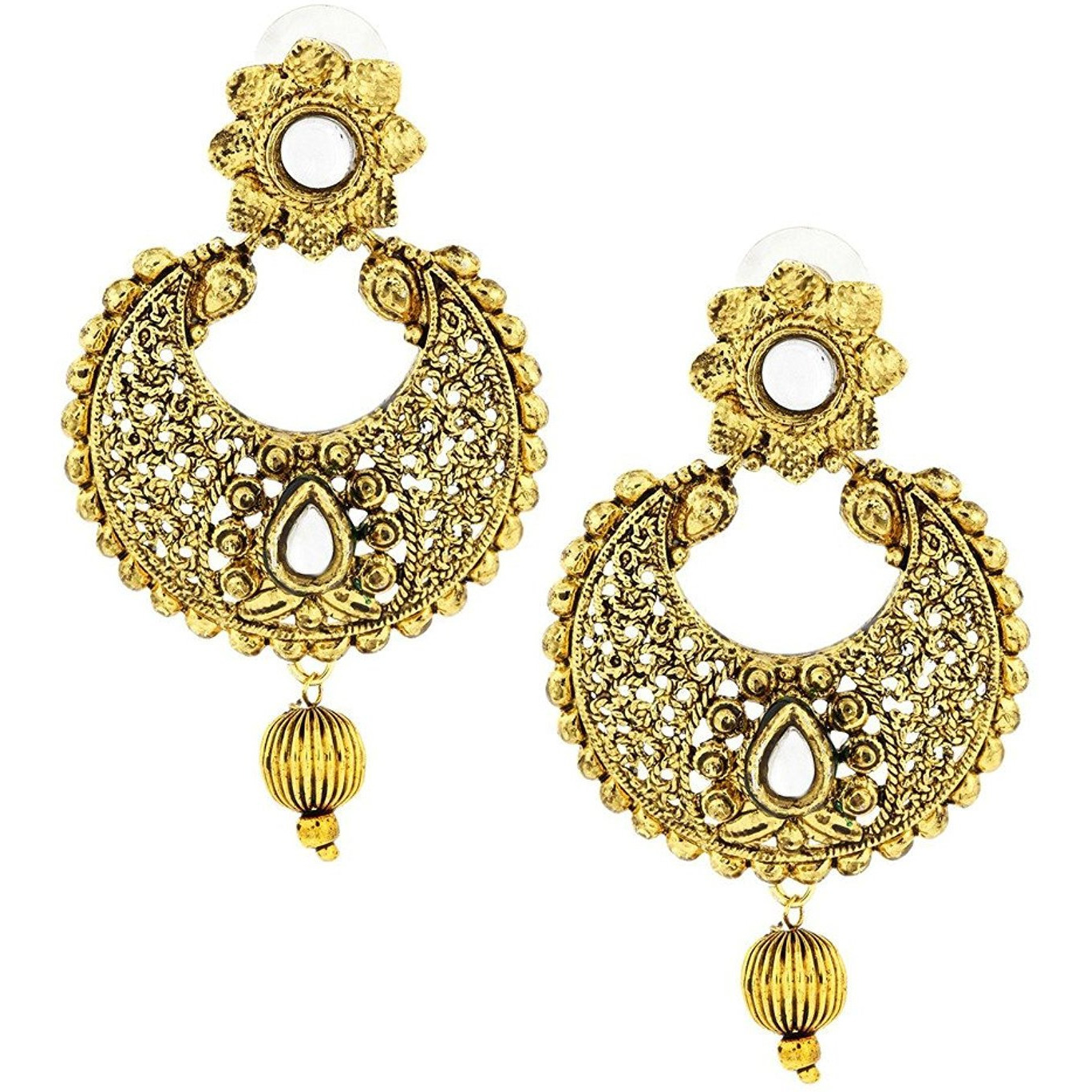 Zivom Kundan Filigree Antique 22K Gold Plated Chand Bali Earring For Women