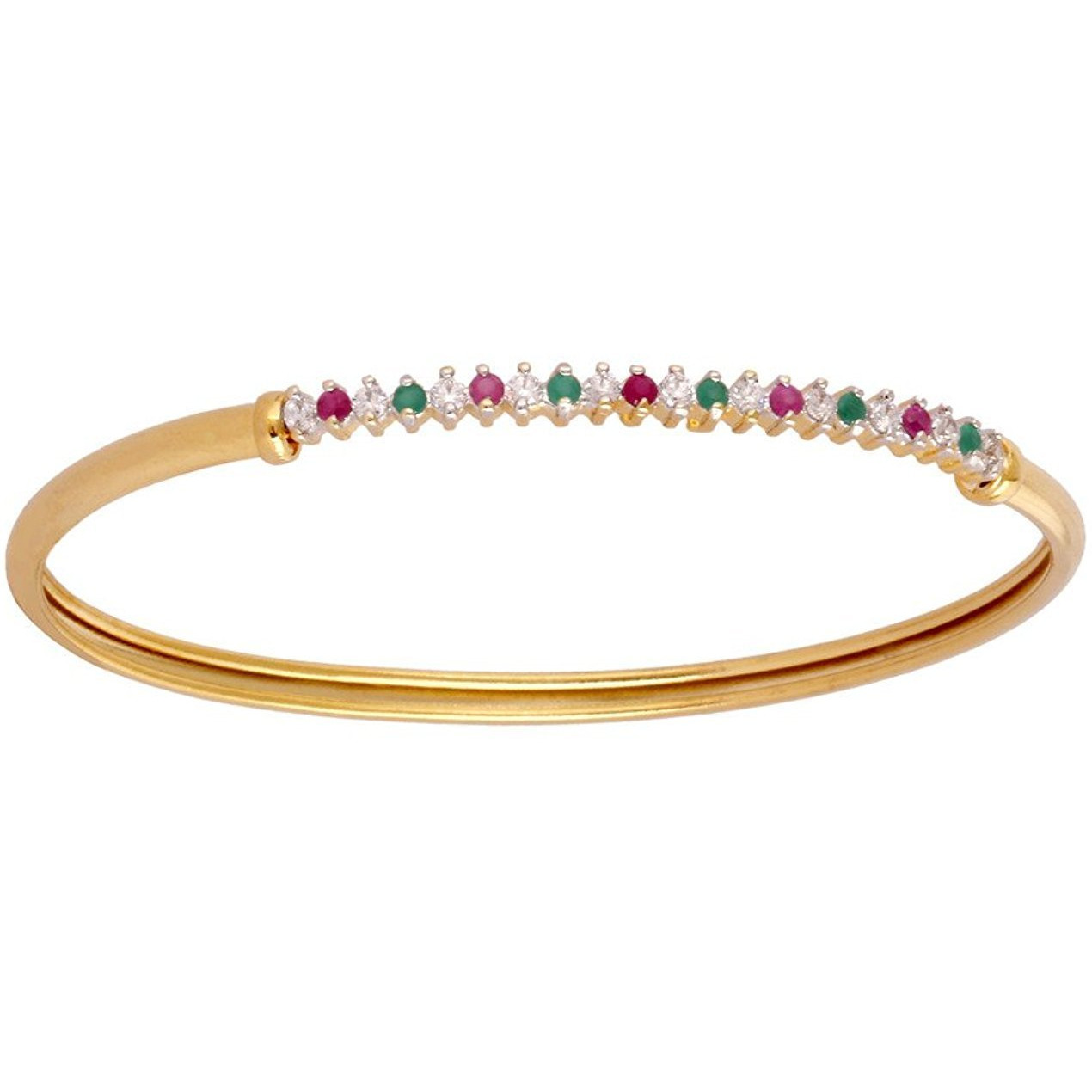 Zivom Eternity Red Green American Diamond Gold Plated Openable Kada Bangle Bracelet For Women
